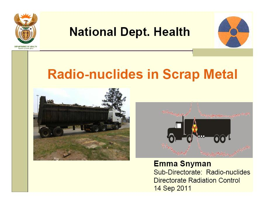 Radio-nuclides in scrap metal - Department of Health